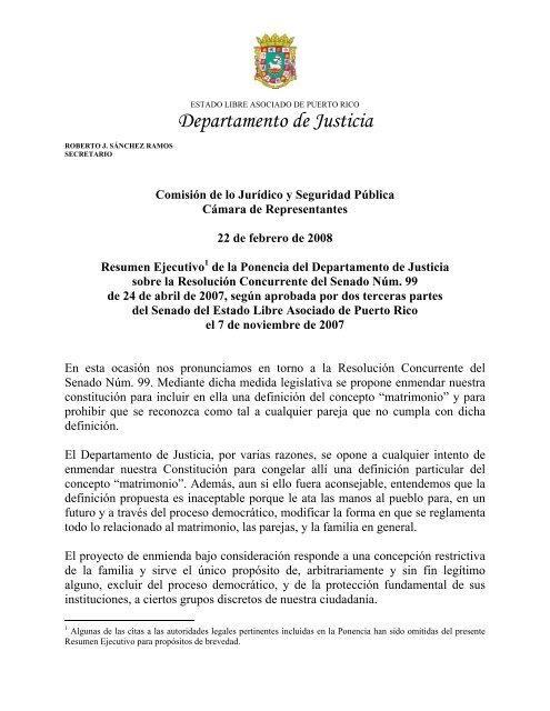 Matrimonio Catolico Resumen : Resumen ejecutivo de la ponencia del departamento