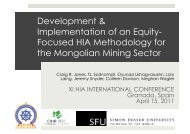 Development of an HIA methodology for the Mongolian mining sector