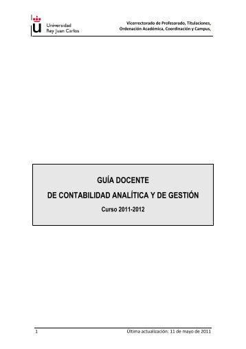 guía docente de contabilidad analítica y de gestión - FCJS