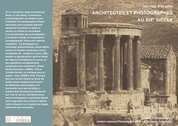 ARCHITECTES ET PHOTOGRAPHES AU XIXe SIÈCLE - GHAMU
