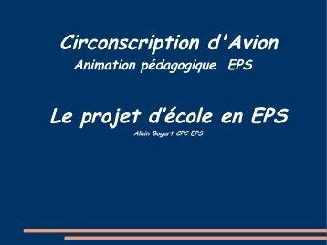 Circonscription d'Avion Le projet d'école en EPS