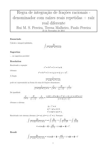 Regra de integração de frações racionais - denominador com raízes ...