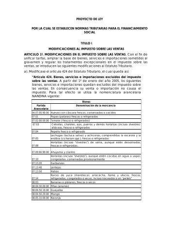 proyecto de ley por la cual se establecen normas tributarias para el ...