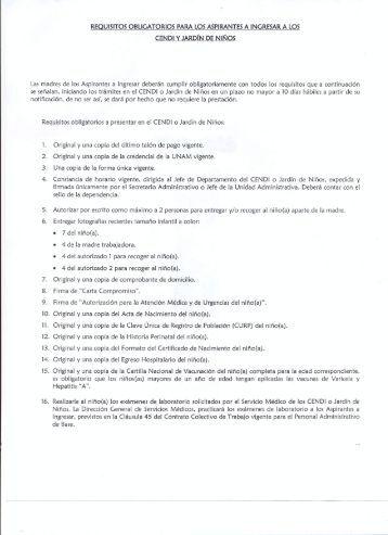 Requisitos para los aspirantes a ingresar a los CENDI y Jardín de ...