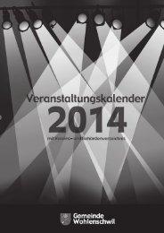 Veranstaltungskalender 2014 mit Vereins - Gemeinde Wohlenschwil