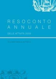 R E S O C O N T O A N N U A L E - Società Italiana di Fisica