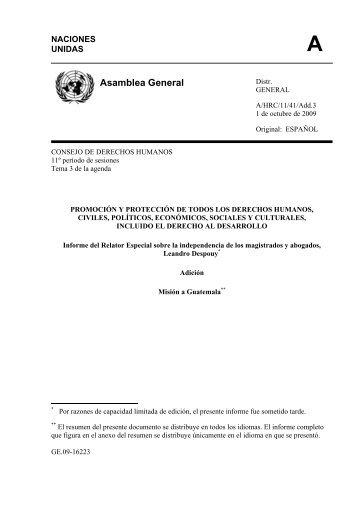 Informe del Relator Especial sobre la independencia de los