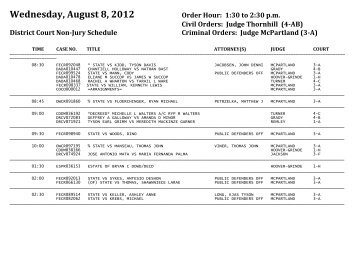 Wednesday, August 8, 2012 Order Hour - Linn County Bar Association