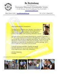 August 2012 - Germania of Poughkeepsie Inc.