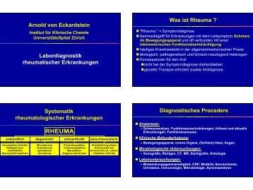 RHEUMA - Institut für Klinische Chemie - UniversitätsSpital Zürich