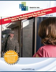 AHEC Project for the Behavioral Health of Veterans, Service ...