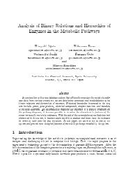 Analysis of Binary Relations and Hierarchies of Enzymes in the ...