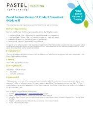Pastel Partner Version 11 Product Consultant (Module ... - Sage Pastel