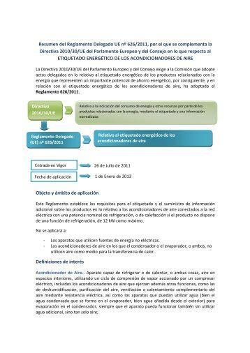 Resumen del Reglamento Delegado UE nº 626/2011, por el ... - AFEC