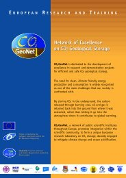 Network of Excellence on CO2 Geological Storage ... - CO2Geonet