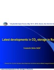 "Latest developments in CO storage in Romania ""CO GeoNet Open Forum ..."