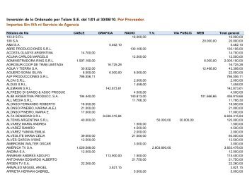 Pauta por proveedor sin IVA ene – jun 2010 - Jefatura de Gabinete ...