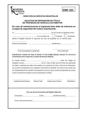 DSR- 023 - Registro Nacional