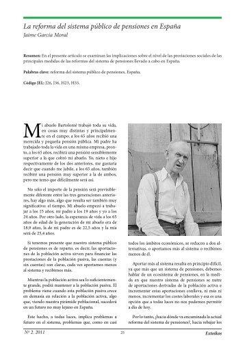 La reforma del sistema público de pensiones en España - extoikos