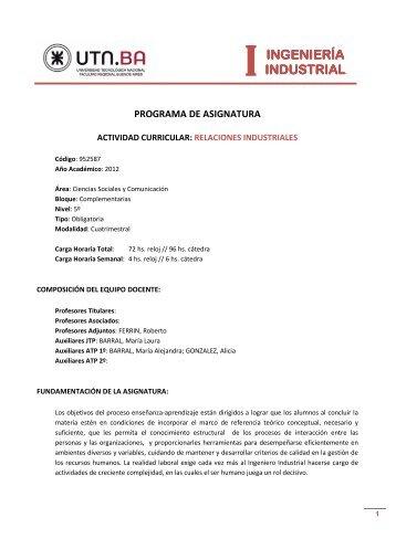 INGENIERÍA INDUSTRIAL INDUSTRIAL - Industrial.frba.utn.edu.ar