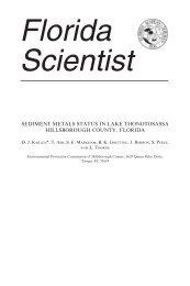sediment metals status in lake thonotosassa hillsborough county ...