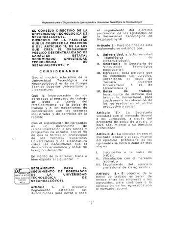 Reglamento para el Seguimiento de Egresados de la Universidad ...