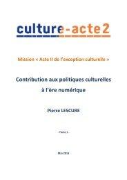 Rapport Lescure Tome 1 - La Documentation française