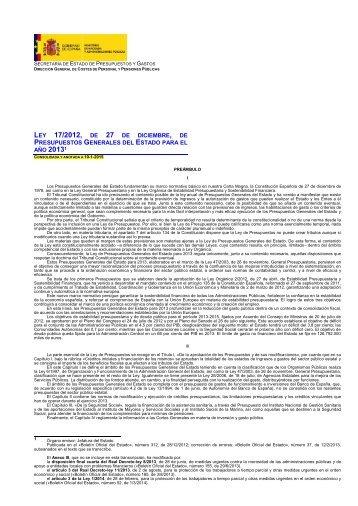 Ley 17/2012 - Clases Pasivas - Ministerio de Hacienda y ...