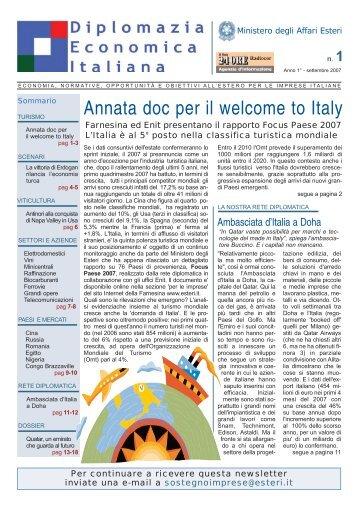N° 1 - Settembre 2007 - Notiziario Economico Farnesina - Il Sole 24 ...