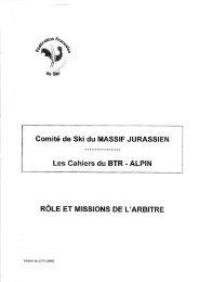 Comité de Ski du MASSIF JURASSIEN - Comité Régional de Ski du ...