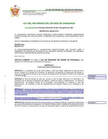 ley del notariado del estado de chihuahua - Orden Jurídico Nacional