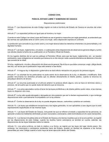 CODIGO CIVIL PARA EL ESTADO LIBRE Y ... - Testamentos