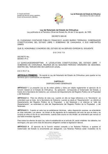 Ley del Notariado del Estado de Chihuahua - Congreso del Estado ...