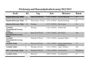 Förderung und Hausaufgabenbetreuung 2012/2013 Fach Kl. Tag ...