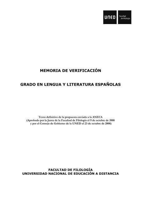 Memoria De Verificaciã N Grado En Lengua Y Uned