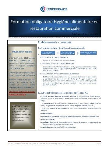 Formation obligatoire Hygiène alimentaire en restauration commercial