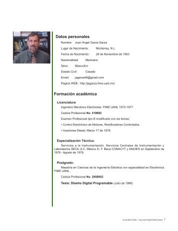 Curriculum Vitae - MC Juan Angel Garza Garza - Universidad ...