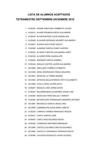 lista de alumnos aceptados tetramestre septiembre-diciembre 2010