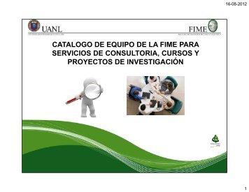 catalogo de equipo fime - Facultad de Ingeniería Mecánica y Eléctrica