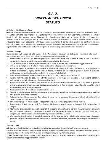 G.A.U. GRUPPO AGENTI UNIPOL STATUTO