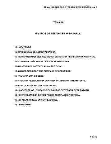 TEMA 16 EQUIPOS DE TERAPIA RESPIRATORIA. - GAMA FIME