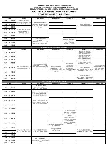 rol de examenes parciales 2013-1 27 de mayo al 01 de junio