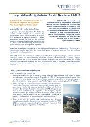 La procédure de régularisation fiscale I Newsletter 03-2013 - vitis life