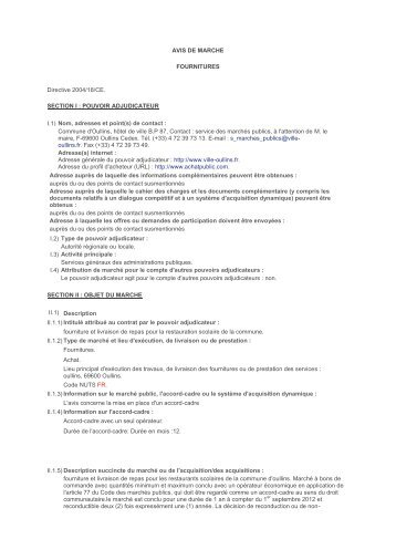 AVIS DE MARCHE FOURNITURES Directive 2004 ... - Ville d'Oullins