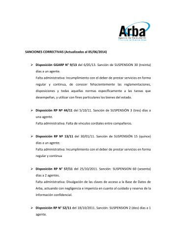 SANCIONES CORRECTIVAS (Actualizadas al 24/06/2013 ... - Arba