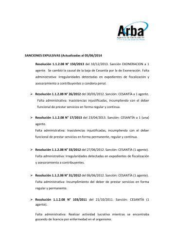 SANCIONES EXPULSIVAS (Actualizadas al 24/06/2013 ... - Arba