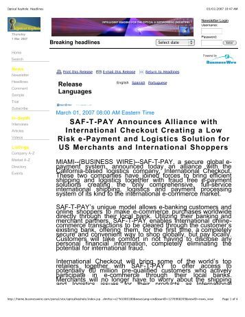 SAF-T-PAY Announces Alliance With International ... - SafetyPay