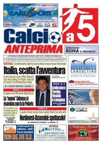 scarica il numero 39 del 2007 Calcio a 5 Anteprima del 9/11/2007