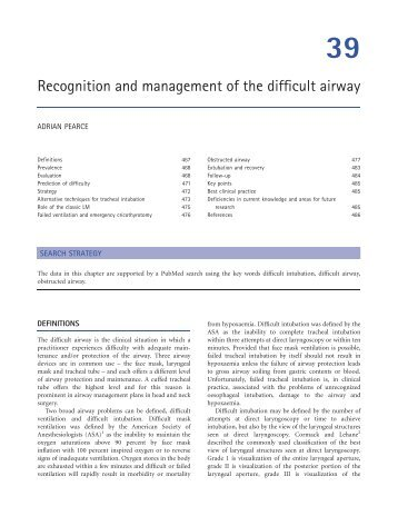Chapter 39: Recognition and management of the difficult airway