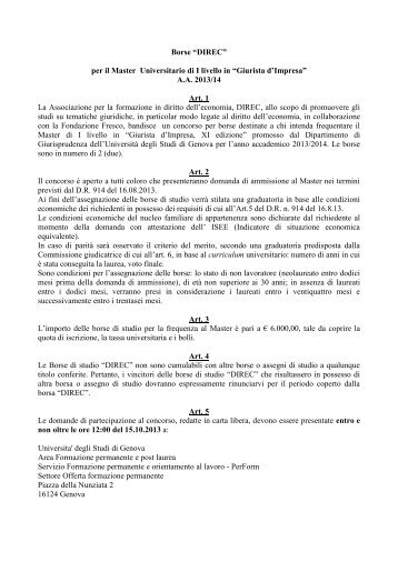 borse studio Associazione DIREC - Perform - Università degli Studi ...